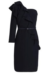 Mikael Aghal One Shoulder Ruffled Crepe Dress Midnight Blue