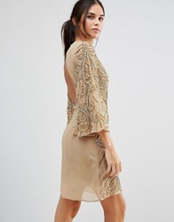 A Star Is Born Heavily Embellished Flute Sleeve Shift Dress Gold