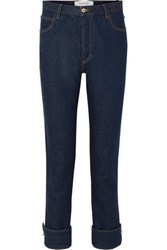 Marques' Almeida Embellished High Rise Straight Leg Jeans Dark Denim