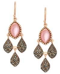 Genevieve And Grace 18K Rose Gold Over Sterling Silver Earrings Pink Shell And Marcasite Drop Earrings
