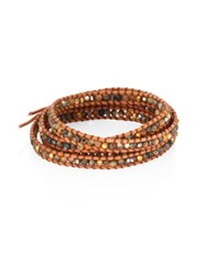 Chan Luu Abalone Crystal And Leather Beaded Wrap Bracelet Bronze