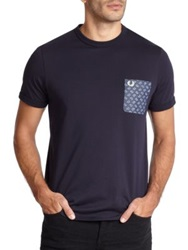 Fred Perry Drakes Paisley Pocket Tee Snow White Navy