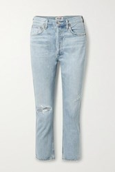 Agolde Riley Cropped Distressed High Rise Straight Leg Jeans Light Denim