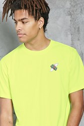 Forever 21 Paper Chase Graphic Tee Neon Yellow Red