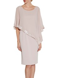 Gina Bacconi Crepe Dress And Sequin Chiffon Cape Ballet Pink