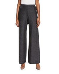 Eskandar Flat Front Flared Trousers Charcoal
