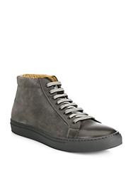 Saks Fifth Avenue Collection Mix Media Leather High Top Sneakers Grey