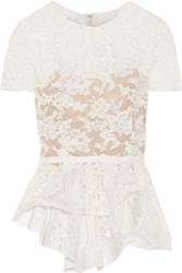 Reem Acra Cotton Blend Corded Lace Peplum Top Ivory