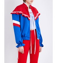 Ground Zero Floral Lace Jersey Zip Up Jacket Red And Blue