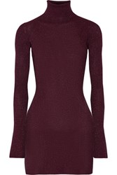 By Malene Birger Errandi Metallic Ribbed Knit Turtleneck Sweater Merlot