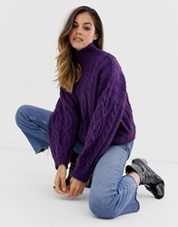 Moon River High Neck Chunky Cable Knit Jumper Purple