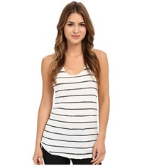 Alternative Apparel Printed Meegs Racer Tank Eco Ivory Ink Stripe Women's Sleeveless White