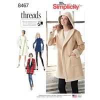 Simplicity Women's Coat Or Jacket With Neckline Variations Sewing Pattern 8467