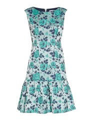 Gina Bacconi Navy Green Floral Jacquard Dress Green