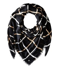 Calvin Klein Three Color Window Pane Blanket Scarf Black Scarves