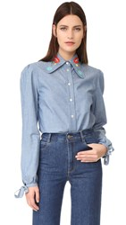 Olympia Le Tan Sliver Haze Button Down Blouse Blue