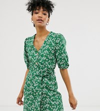 Monki Ditsy Floral Print Mini Tie Waist Shirt Dress In Green