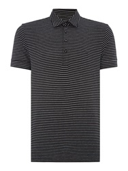 Peter Werth Vista Stripe Polo Slim Fit Polo Shirt Black
