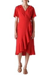 Whistles Abigail Frill Wrap Dress Red