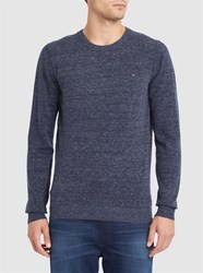 Diesel Blue And Grey Maniky Chest Logo Round Neck Sweater