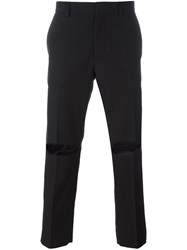 Msgm Ripped Cropped Trousers Black
