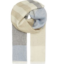 Richard James Colour Block Linen Scarf Blue Cream