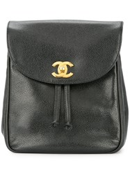 Chanel Vintage Cc Chain Backpack Black