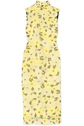 Erdem Josie Embellished Embroidered Chiffon Midi Dress Yellow