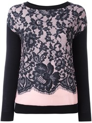 Boutique Moschino Lace Layer Jumper Black