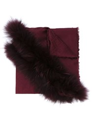Fendi Ff Logo Fur Trim Shawl Pink And Purple