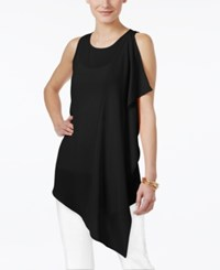Cable And Gauge Ruffled Asymmetrical Tunic Jet Black