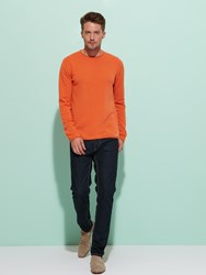 Shanghai Tang Cashmere Silk Sweater With Contrast Shou Embroidery Dark Orange