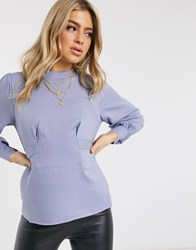 Na Kd Front Tie Blouse In Sky Blue