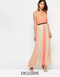 Vila Colour Block Pleated Maxi Dress Dessert Flower Orange