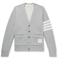 Thom Browne Striped Loopback Cotton Jersey Cardigan Gray
