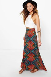 Boohoo Aztec Print Woven Belted Maxi Skirt Orange