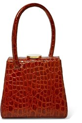 Little Liffner Mademoiselle Croc Effect Leather Tote Red