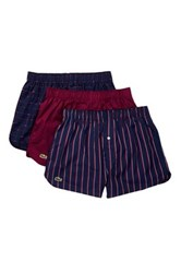 Lacoste Woven Boxer Pack Of 3 Purple