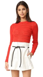 3.1 Phillip Lim Long Sleeve Crochet Pullover Poppy