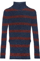 Cedric Charlier Striped Metallic Ribbed Knit Turtleneck Sweater Navy