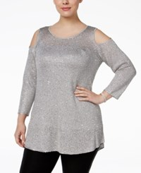 Alfani Plus Size Sequined Cold Shoulder Sweater Only At Macy's Silver Stream