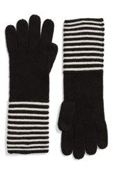 Michael Michael Kors Women's Double Links Wool And Cashmere Gloves Black Cream