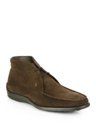 Tod's Suede Lace Up Ankle Boots Dark Brown