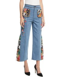 Alice Olivia Reina High Waist Flared Leg Jeans With Embroidery Blue Pattern