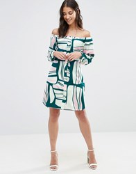 Closet London Retro Print Off The Shoulder Dress Multi