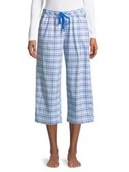 Karen Neuburger Plaid Capri Pajama Pants Blue Plaid