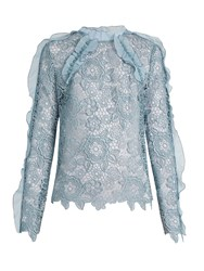 Self Portrait Cut Out Floral Lace Ruffled Top Light Blue