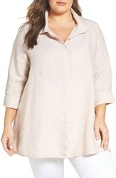 Foxcroft Plus Size Women's Chambray Linen Tunic Shirt Flax