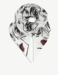 Fornasetti Snake Print Modal And Cashmere Scarf Grey