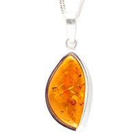 Be Jewelled Sterling Silver Marquise Cognac Amber Pendant Necklace